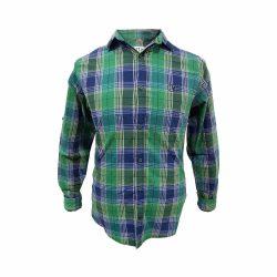 پیراهن کتان چهار خونه سبز سورمه ای جلو