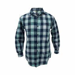 پیراهن کتان چهار خونه سورمه ای سبز طوسی جلو