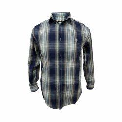 پیراهن کتان چهار خونه سورمه ای طوسی جلو