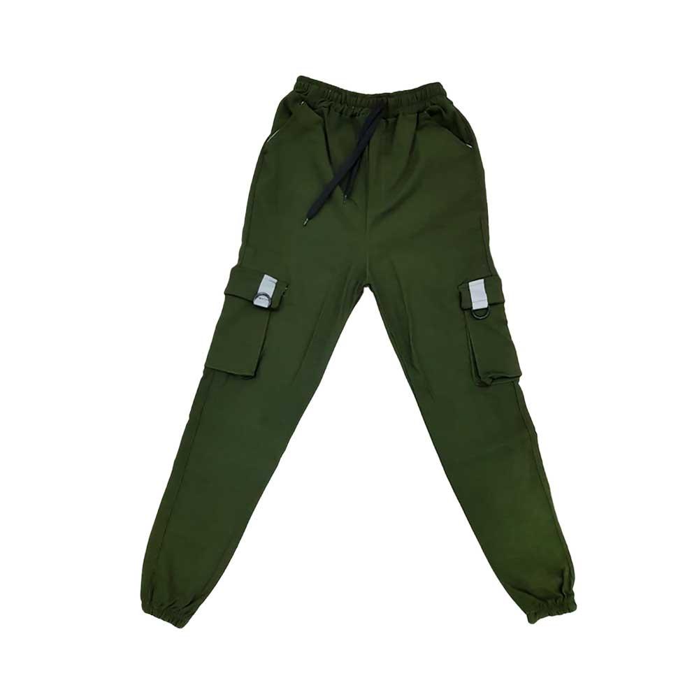 شلوار اسلش شش جیب سبز پررنگ جلو باز