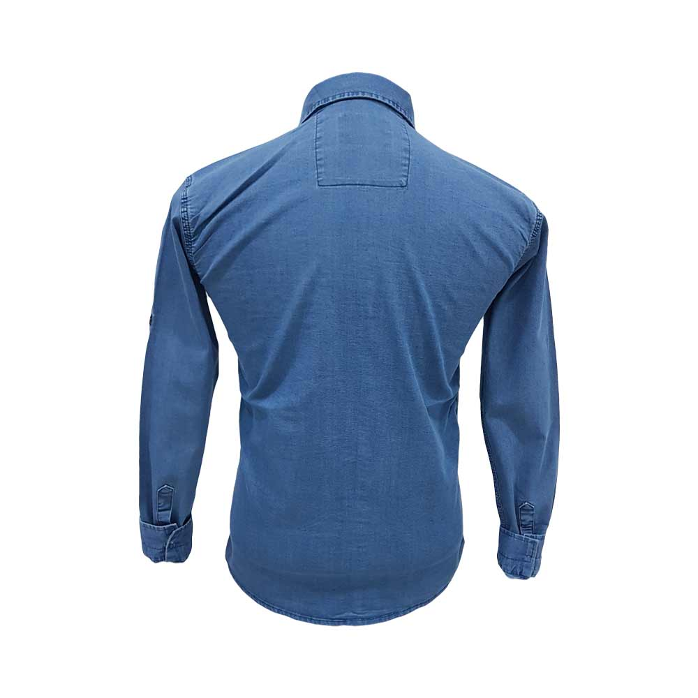 پیراهن لی آبی آستین بلند دو جیب