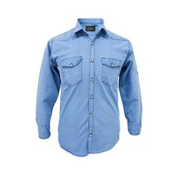 پیراهن لی آبی روشن آستین بلند دو جیب