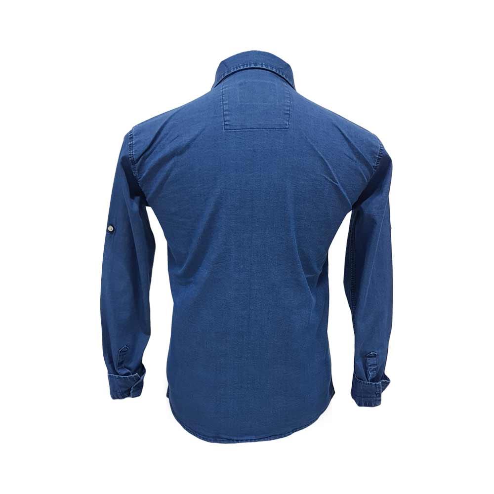 پیراهن لی آبی تیره آستین بلند دو جیب