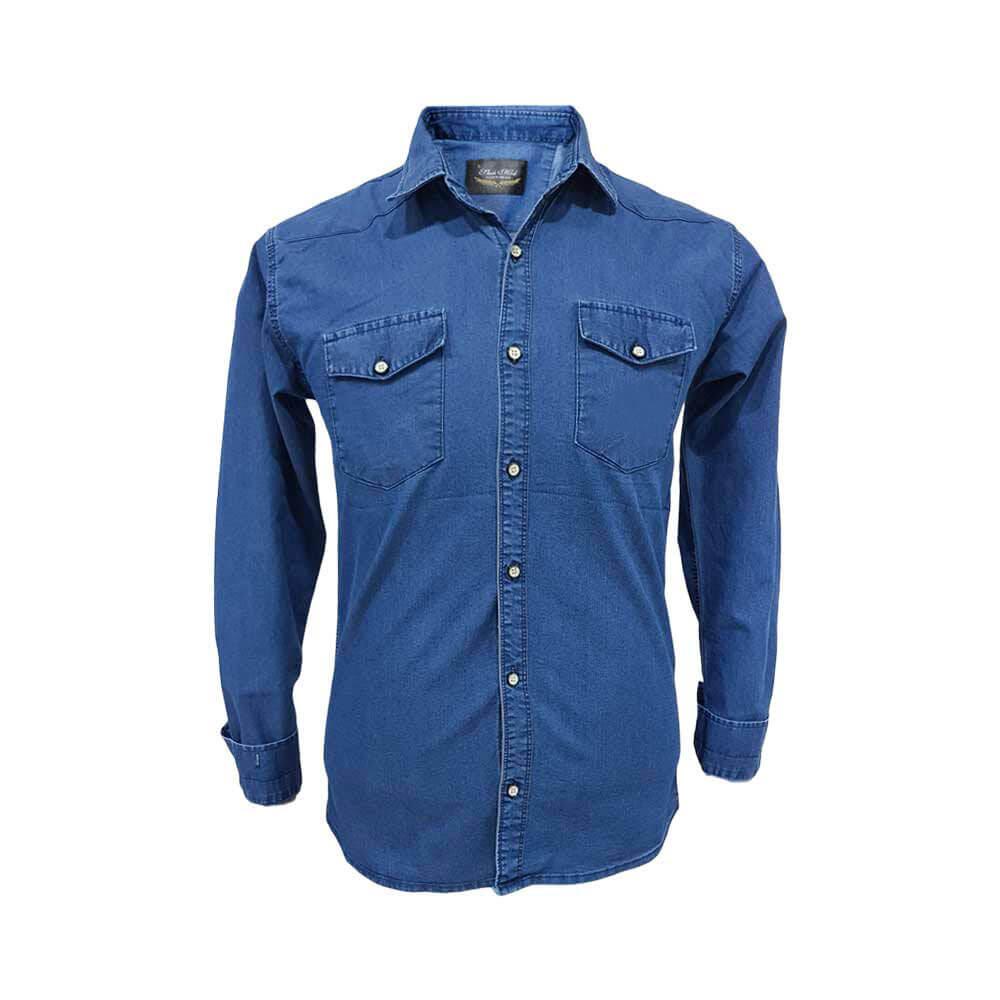 پیراهن لی دو جیب سایز بزرگ آبی تیره