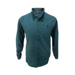 پیراهن پشمی چهارخونه سبز و سورمه ای