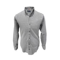 پیراهن پشمی چهارخونه طوسی