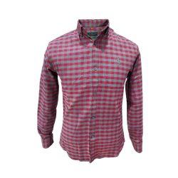پیراهن پشمی چهارخونه قرمز و طوسی