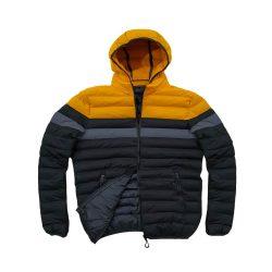 کاپشن بادی سبک زمستانه زرد مشکی طوسی جلو