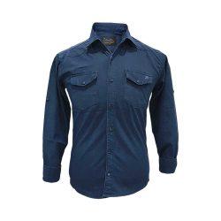 پیراهن کتان دو جیب سورمه ای