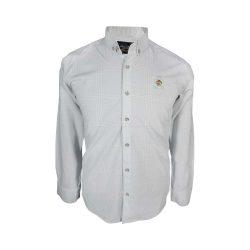 پیراهن مردانه ساتن خطی طوسی روشن