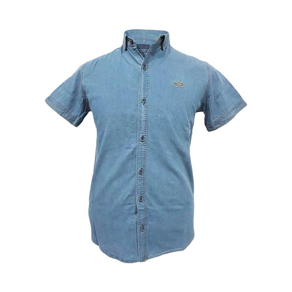 پیراهن لی آستین کوتاه آبی روشن