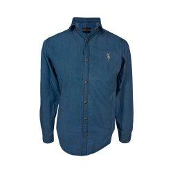پیراهن لی آبی آستین بلند