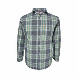 پیراهن نخی چهارخونه آستین بلند تک جیب