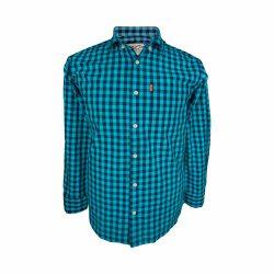 پیراهن نخی چهارخونه آستین بلند تک جیب آبی سورمه ای