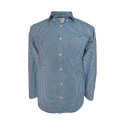 پیراهن نخی چهارخونه آستین بلند تک جیب آبی طوسی