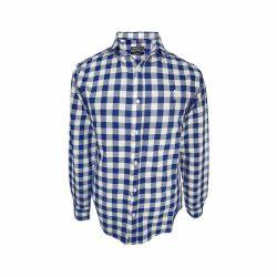 پیراهن نخی چهارخونه آستین بلند