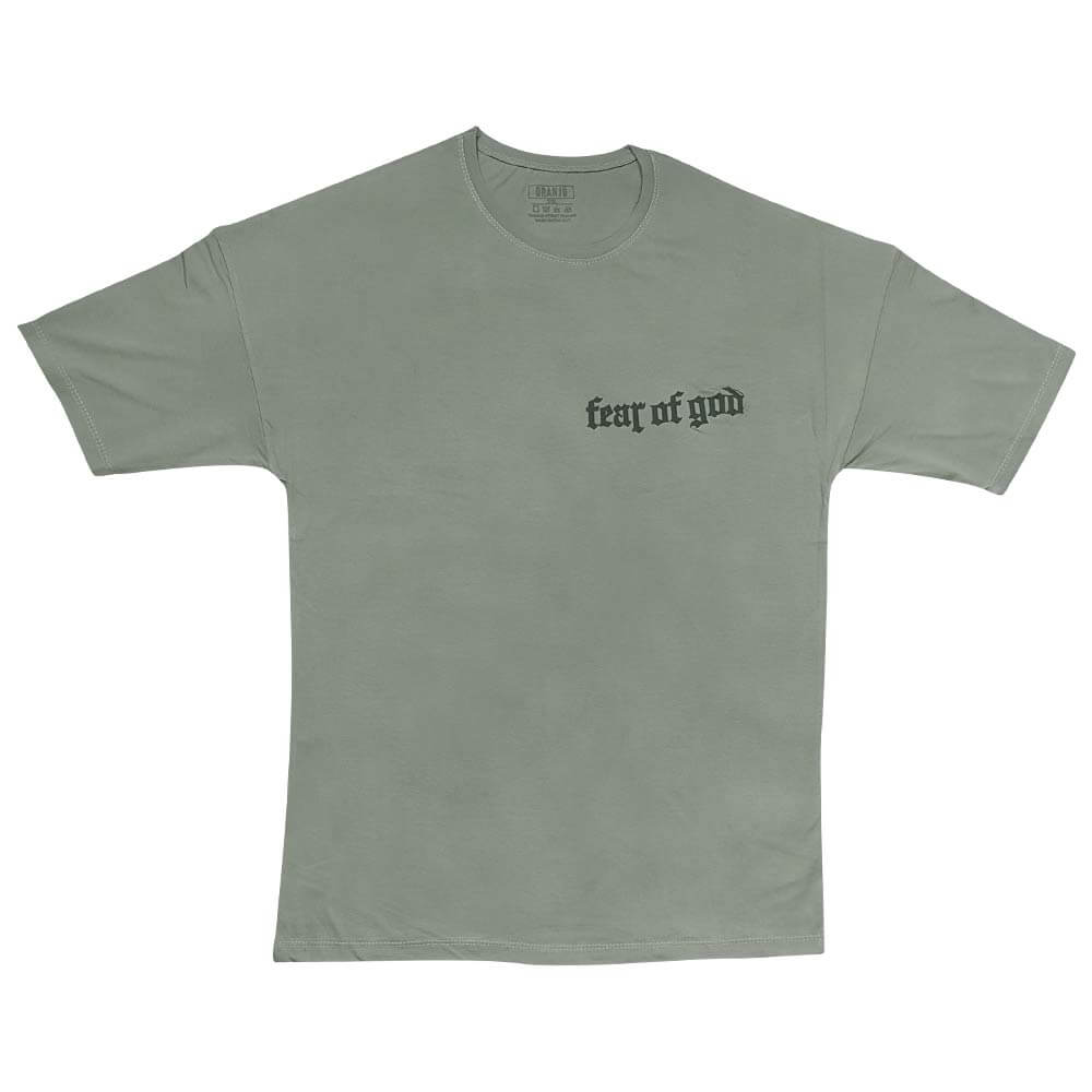 تیشرت سبز سایز بزرگ طرح fear of god