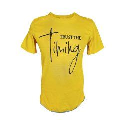 تیشرت آستین کوتاه طرح دار زرد