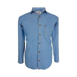 پیراهن لی تک جیب آبی روشن آستین بلند