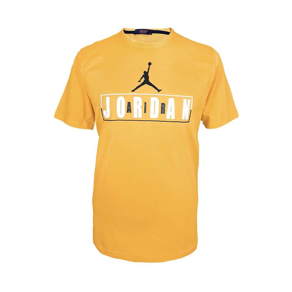 تیشرت سایز بزرگ پنبه ای آستین کوتاه طرح جوردن رنگ زرد