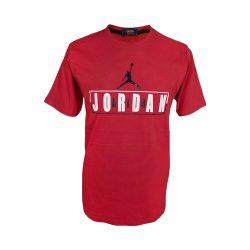 تیشرت سایز بزرگ پنبه ای آستین کوتاه طرح جوردن رنگ قرمز