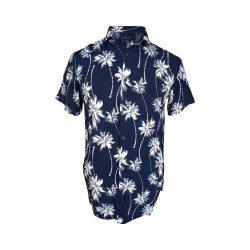 پیراهن هاوایی سورمه ای طرح پالم جلو