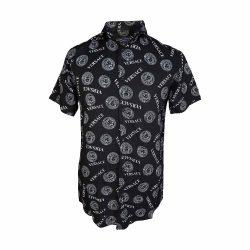 پیراهن هاوایی مشکی طرح versace جلو