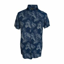 پیراهن هاوایی سورمه ای طرح برگ جلو