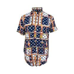 پیراهن هاوایی طرح دار رنگ سفید و سورمه ای