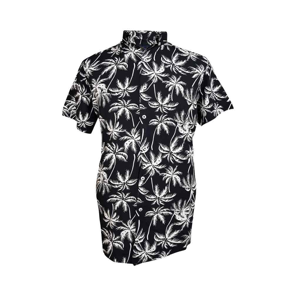 پیراهن هاوایی مشکی با طرح نخل