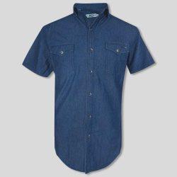 پیراهن لی دو جیب آستین کوتاه