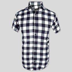 پیراهن چهارخونه سفید مشکی