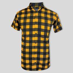 پیراهن چهارخونه زرد و مشکی
