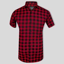 پیراهن چهارخونه قرمز مشکی