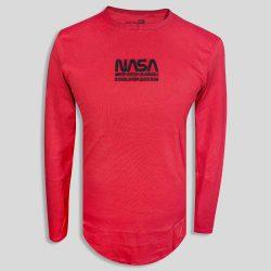 تیشرت آستین بلند قرمز مردانه طرح NASA