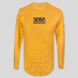 تیشرت آستین بلند زرد مردانه طرح NASA