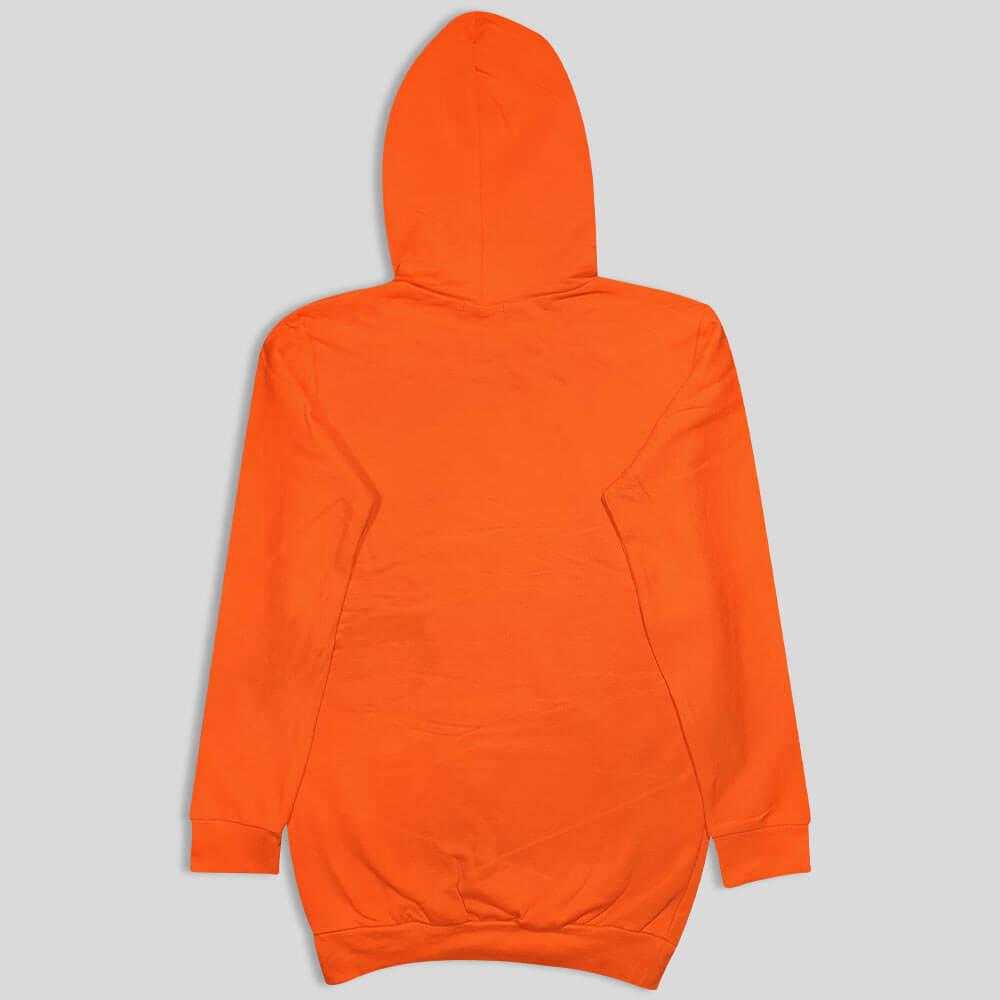 هودی نارنجی بلند چاپ دار پشت