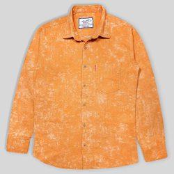 پیراهن پشمی پاییزه جیب دار نارنجی